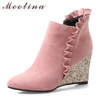 Meotina Mujeres Cuñas Tobillo Botas de Tacón Alto Botas de Invierno de Las Colmenas botas Bling Tacones Zip Señoras Punta estrecha Otoño Zapatos Marrones rosa