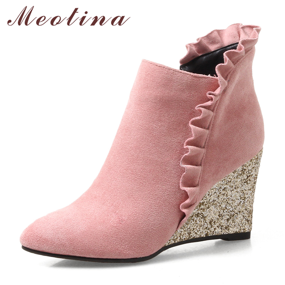 где купить Meotina Women Boots High Heel Boots Winter Ruffles Wedges Ankle Boots Bling Heels Zip Pointed Toe Ladies Autumn Shoes Brown Pink по лучшей цене