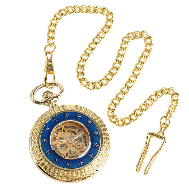 2017 יוקרה זהב מכאני יד רוח שעון כיס חלול רומי מספרי Fob שעון תליון שרשרת לגברים נשים מתנה