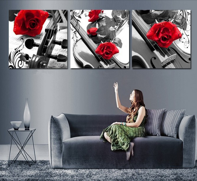 Handmade 3 Piece Black White Red Wall Art Oil Paintings On