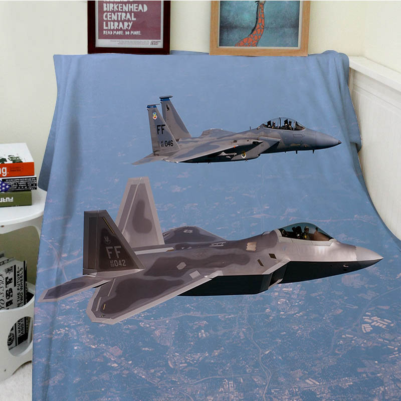 Super Soft Blankets Plush Machine Wash Fighters Fly Over The City Air Sofa Bed Throw Cob ...