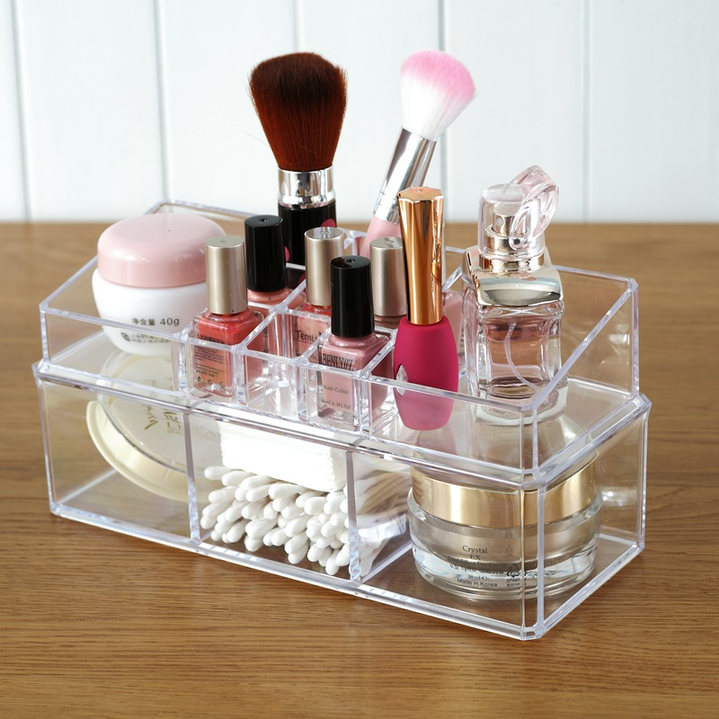 Transparent Plastic Cosmetic Makeup Brush Cotton Set Storage Box Desktop Dressing table 23.3cm*17.5cm*9.5cm*11.3cm