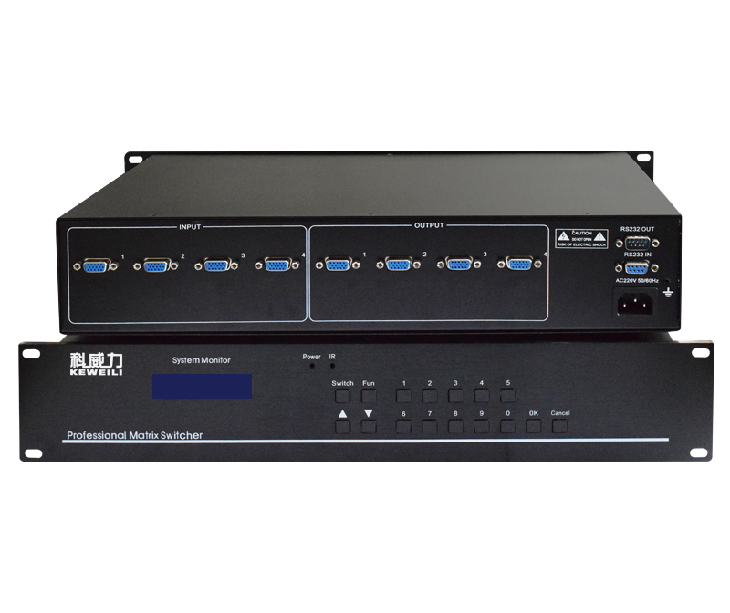 4 input and 4 output VGA matrix swtich 4x4 video 2U switcher RS232 IR remote control Auto Loop 1080P