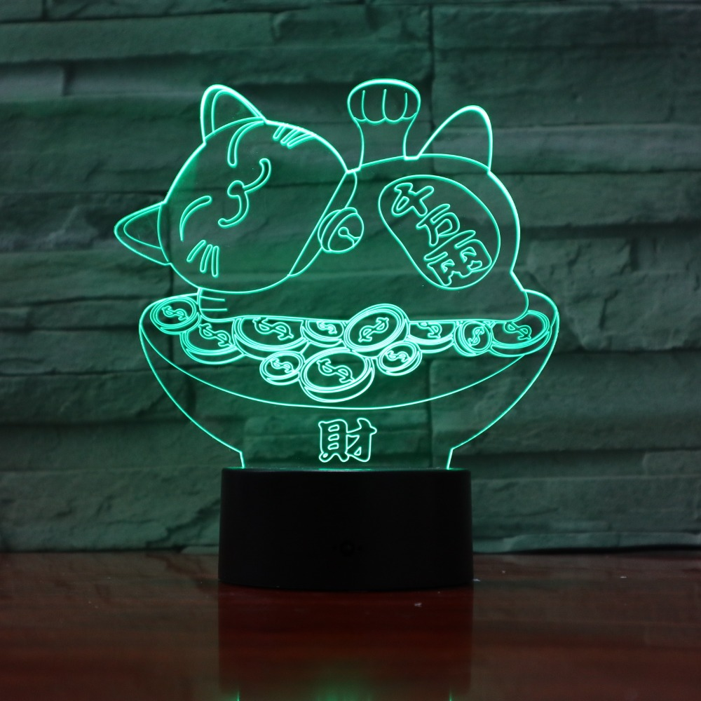 Good Fortune Treasure Cat 3D Lava Lamp Creative 7 Color Changing LED Night Light RGB Mood Decor Gift Bedroom Table Lamp 3D-967