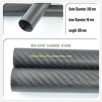 100mm OD x 96mm ID Carbon Fiber Tube 3k 500MM Long(Roll Wrapped) carbon pipe , with 100% full carbon, Japan 3k improve material
