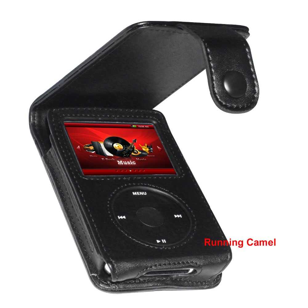 Running Camel Black Genuine Leather Case Cover for Apple iPod Classic 80GB 120GB 160GB With Belt Clip