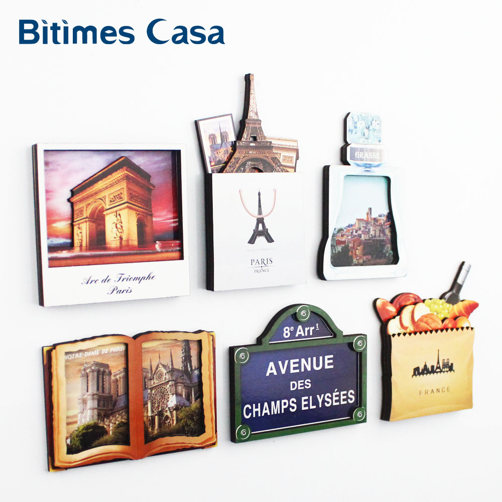 Bitimes 6PCS France Scenic 3D Fridge Refrigerator Magnets <font><b>Paris</b></font> Fridge Magnets Notre Dame Cathedral Imanes Travel Souvenir image