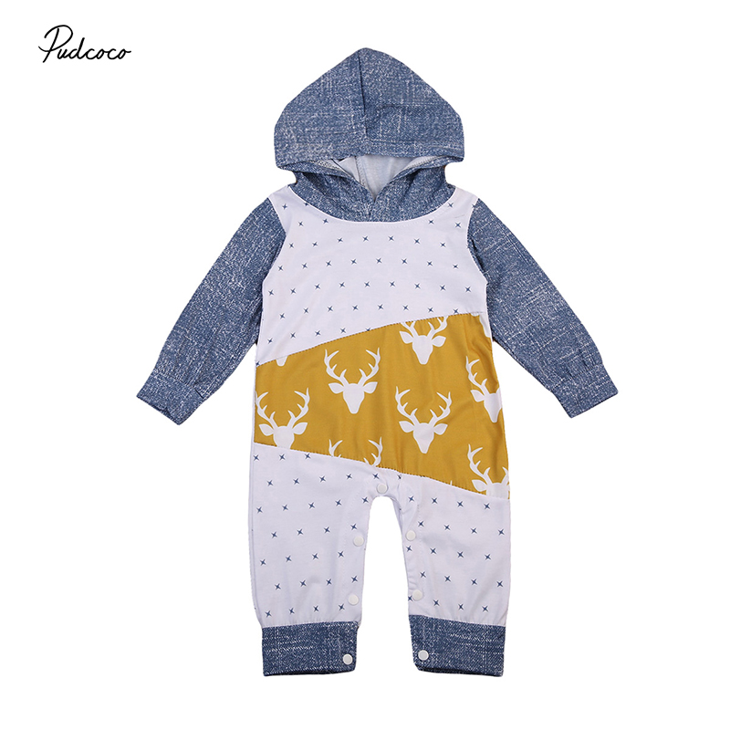 2017 Autumn Newborn Clothes Infant Toddler Kids Boy Girl Long Sleeve Hooded Romper Jumpsuit Playsuit Outfit Tracksuit Clothing newborn infant baby boy girl cotton romper jumpsuit boys girl angel wings long sleeve rompers white gray autumn clothes outfit