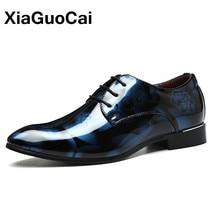 Xiaogocai 2017 الخريف الرجال اللباس أحذية أكسفورد أحذية للرجال الرباط المطاط أشار تو أحذية رجالية جلدية sapato ocial