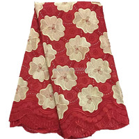 PS81 New Arrival high quality Big Red African cord lace fabrics Swiss voile Embroidered Guipure Fabric With Stones