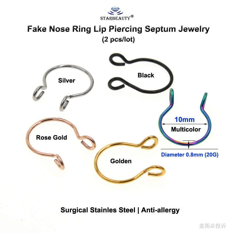 Starbeauty2pcs/lot U Vormige Nep Nose Ring Hoop Septum Ringen Titanium Neus Piercing Oorbellen Nep Piercing Oreja Pircing Sieraden