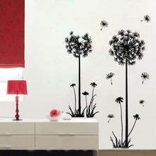 DIY flying dandelion flower butterfly Wall Stickers Living Room Bedroom Wall Art Home decor decals Backdrop mural