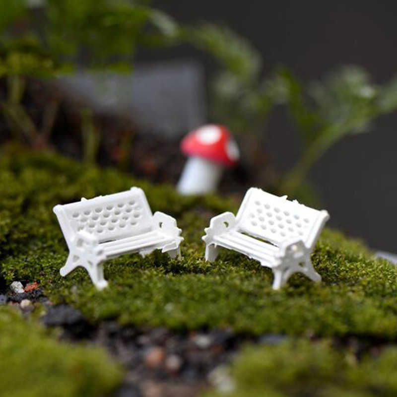 1ピース高品質ミニ白いプラスチック公園シートベンチ庭飾りフェアリードールハウスの装飾ウェディングパーティーの装飾3サイズ