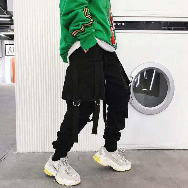 Japan ulzzang Style Pants men big pocket zipper loose casual harem pants baggy slacks trousers hip hop joggers male cross-pants 1