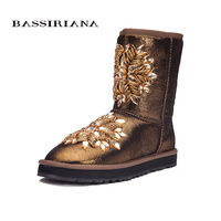 BASSIRIANA Women S Fashion Blue Sheepskin Snow Boots With Crystal Decoration Free Shipping