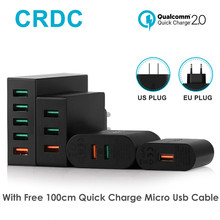 CRDC Usb Charger 18/36/42/54W Multi-Port QC2.0 Series Quick Charge Mobile Phone Charger For iPhone7 Samsung galaxy s8 Xiaomi etc