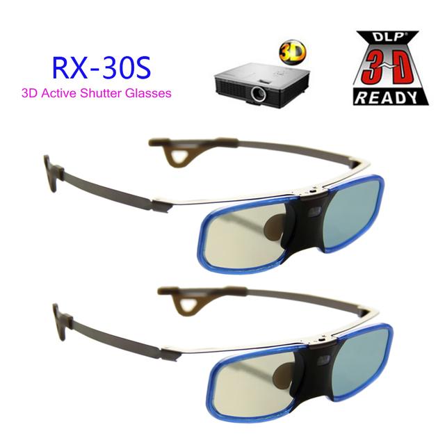 2 pcs x óculos de obturador ativo dlp 3d projetor tv de alumínio com clip para míope para optoma lg benq acer (RX-30S)