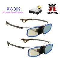 2 stks x 3d projector dlp tv aluminium actieve shutter-bril met clip voor myope voor optoma lg benq acer (RX-30S)