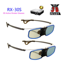 2pcs x 3D DLP Projector TV Aluminum Active Shutter Glasses with Clip for Myope For Optoma LG BenQ Acer (RX-30S)