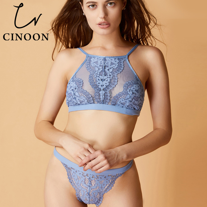 CINOON Sexy Lingerie Lace Ultra-thin   Bra     Set   Women Underwear Soft Brassier and   Brief     Sets   Push Up Flower Bralette for Female