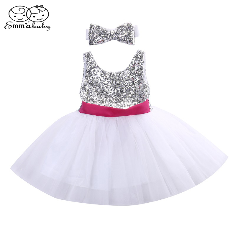 2684193a27640c Emmababy Baby Meisjes Prinses Jurk Lovertjes Trouwjurk Party Pageant  Princess DressTutu Tulle Jurken Hoofddeksels Outfits
