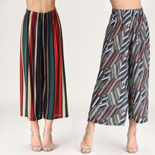2019 new European printing wide-legged pants elastic waist loose slacks female wave speed amazon sells hot style