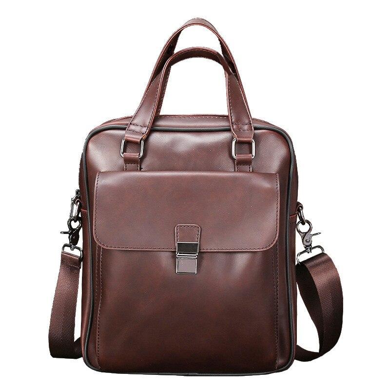 Briefcase Business Crazy-Horse Handbag Laptop-Bag Shoulder-Bags Vintage Men's School