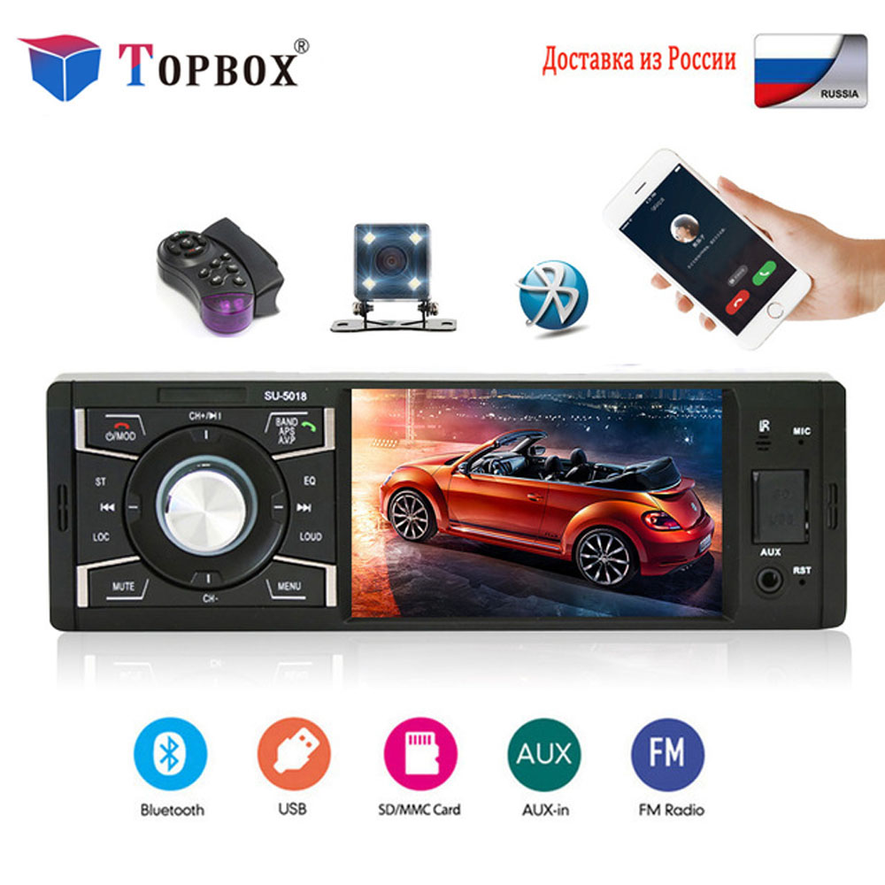Topbox Car Radio 1 Din 4 inch Radio Car Touch Screen Auto Audio Car stereo Bluetooth Rear View Camera USB AUX FM Player Camera