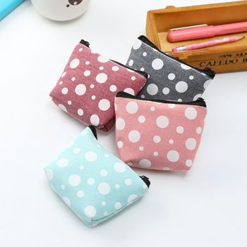 Canvas Coin Purses Women Small Wallet Change Purse Child Girl Dot Mini Zipper Pocket Bag Key Card Coin Holder Pouch image