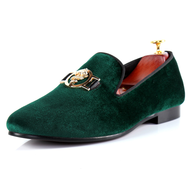 Harpelunde Men Loafer Shoes Green Buckle Casual Shoes Velvet Flats Size 7-14 4f16035d59bd