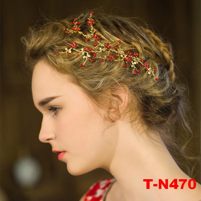 Fashion red crystal gold plating hair vine wedding bridal bride headband hair accessories