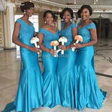 Blue Bridesmaid Dress 2017 Lace Appliques V neck Long Satin Wedding Guest Gowns Mermaid Bride maid Dresses vestido madrinha