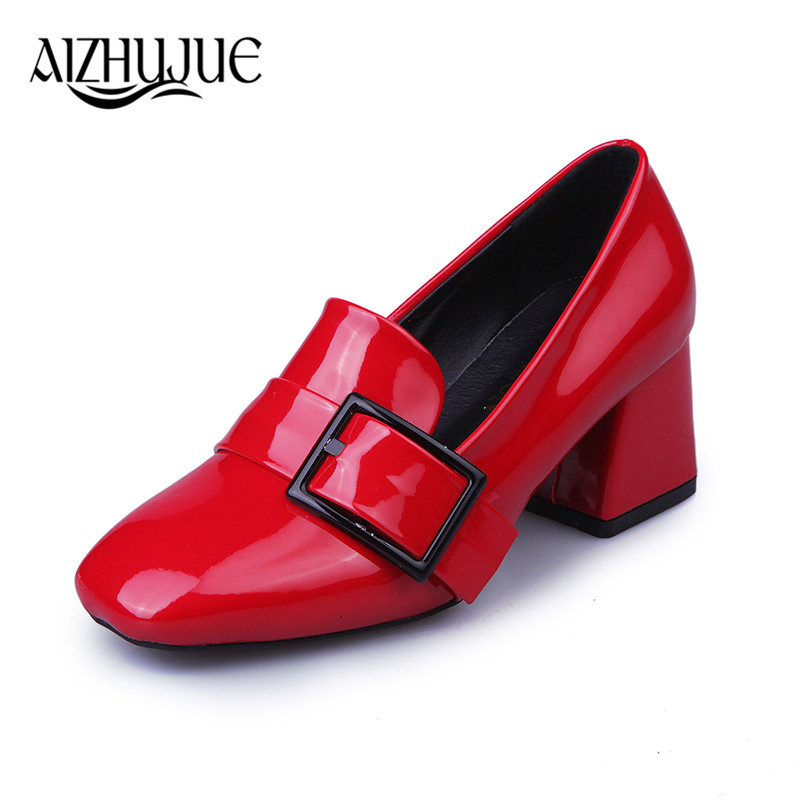 2018 Vintage Lace Up Women Pumps Cut Out Oxford Shoes Chunky Heel Patent Leather High Heels Lady Ankle pumps red black simple women s pumps with lace up and chunky heeled design
