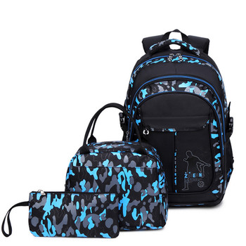 New Arrived Camouflage 3 Pcs/set School Backpack For Teen Boys Durable Children School Bags Laptop Backpack Travel Bags Mochila