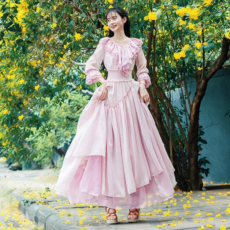 무료 shiping boshow 2019 새로운 패션 여성 긴 맥시 ruffles 3 quater 슬리브 봄 가을 보헤미안 쉬폰 S L 드레스-에서드레스부터 여성 의류 의  그룹 1