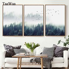 Bedroom 3 Pieces Forest Lanscape Poster Nordic Style Print Wall Art Canvas Painting Picture for Living Room Home Decoration