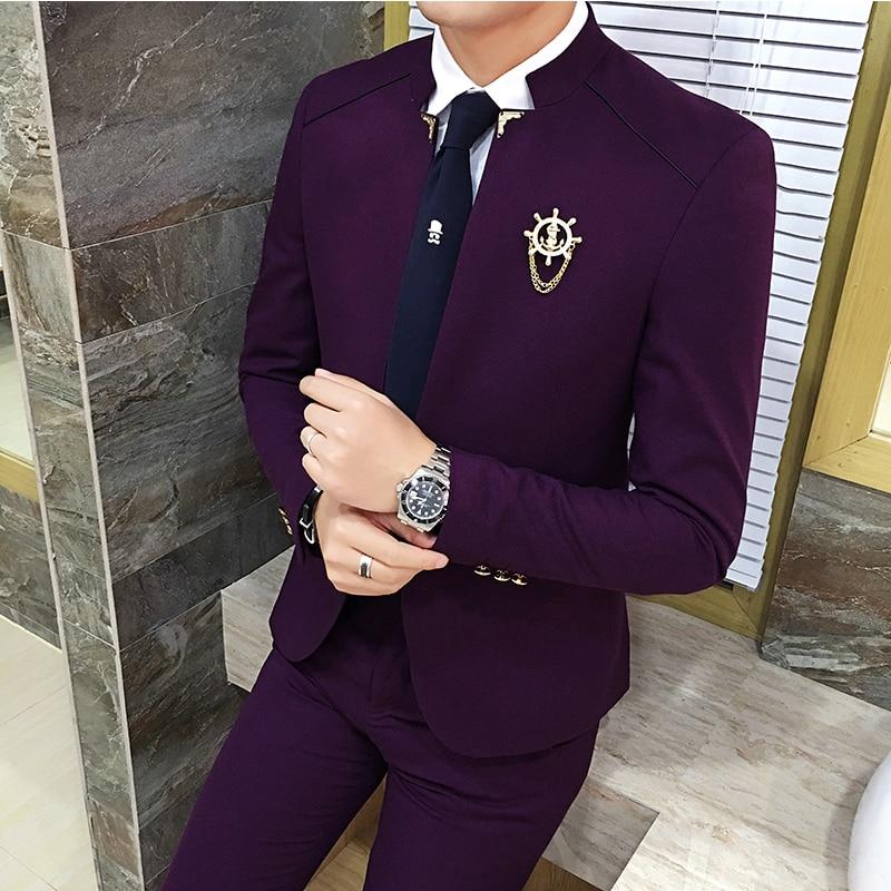 Red Wine Mens Suits Slim Fit Business Banquet Men Blazer Jacket And Pants Asia Size S M L XL XXL Men Wedding Suits High Quality