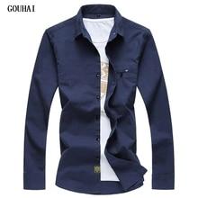 GOUHAI 2019 New Mens Shirts Plus Size Casual Linen Men Slim Fit Shirt Men's Solid Shirts Long Sleeves High Quality M-6XL 7XL