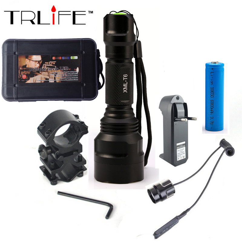 LED Flashlight  XML-T6 8000LM Tactical Flashlight  Aluminum Hunting Flash Light Torch Lamp +18650+Charger+Gun Mount 1000 lumen cree xml t6 led flashlight 501b hunting camping flash light tactical torch by 18650 battery gun mount tail switch