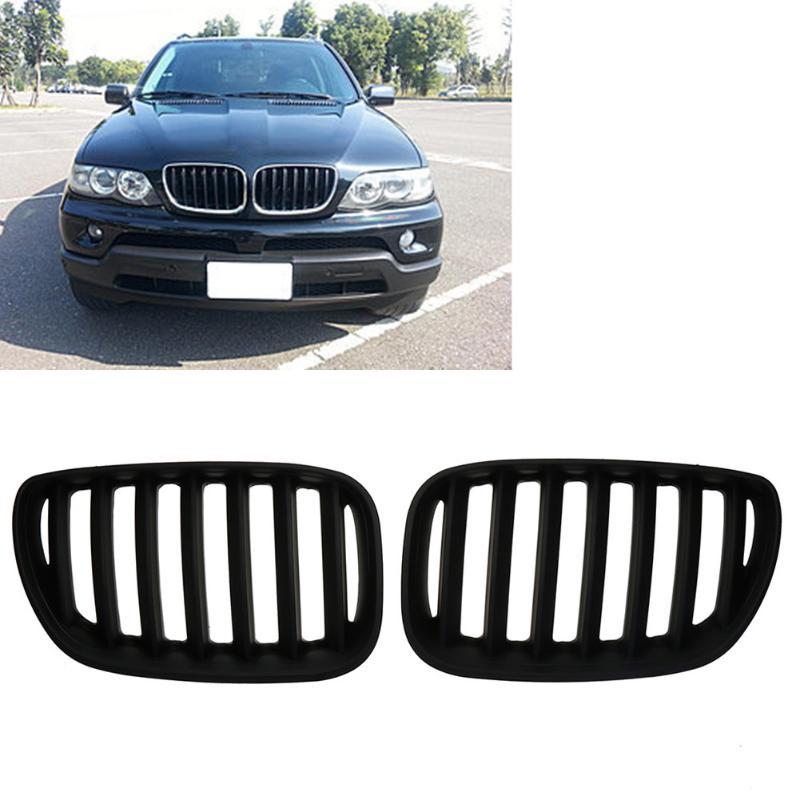 Pcs Preto Fosco Frente Grilles Renais 2 para BMW X5 E53 3.0 4.4 4.6 4.8 04-06 Dianteira Do Carro bumper Grille para Modificação Do Carro Styling