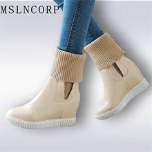 Fashion Women Snow Boots Autumn Winter warm Martin Shoes Height Increasing Platform Ankle Botas Brand Flock Boot Plus Size 34-43 недорго, оригинальная цена