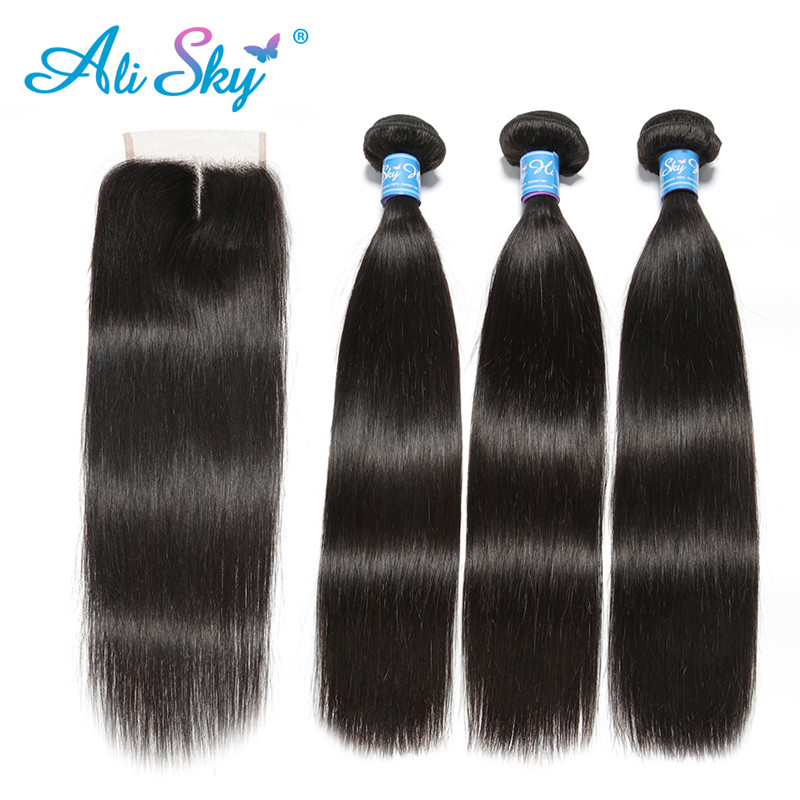 Alisky Hair Peruvian Straight Hair 3 Bundles With Lace Closure Remy Human Hair Weave Bundles With Closure 4