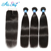 Alisky Hair Peruvian Straight 3 Bundles With Lace Closure Remy Human Weave 4x4 Extensions