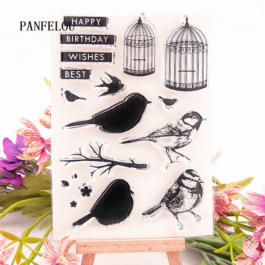 PANFELOU Birds and bird cage Transparent Silicone Rubber Clear Stamps cartoon for Scrapbooking/DIY Christmas wedding album