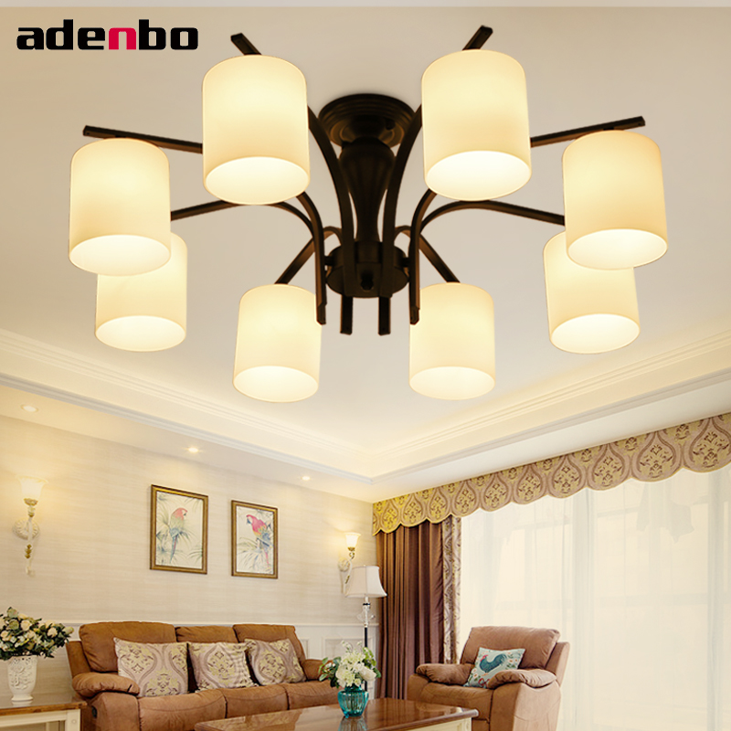 LED Chandelier Black Iron Ceiling Chandeliers Lighting Fixtures American Countryside Style For Living Room And Bedroom Lighting chandeliers lights led lamps e27 bulbs iron ceiling fixtures glass cover american european style for living room bedroom cdl04