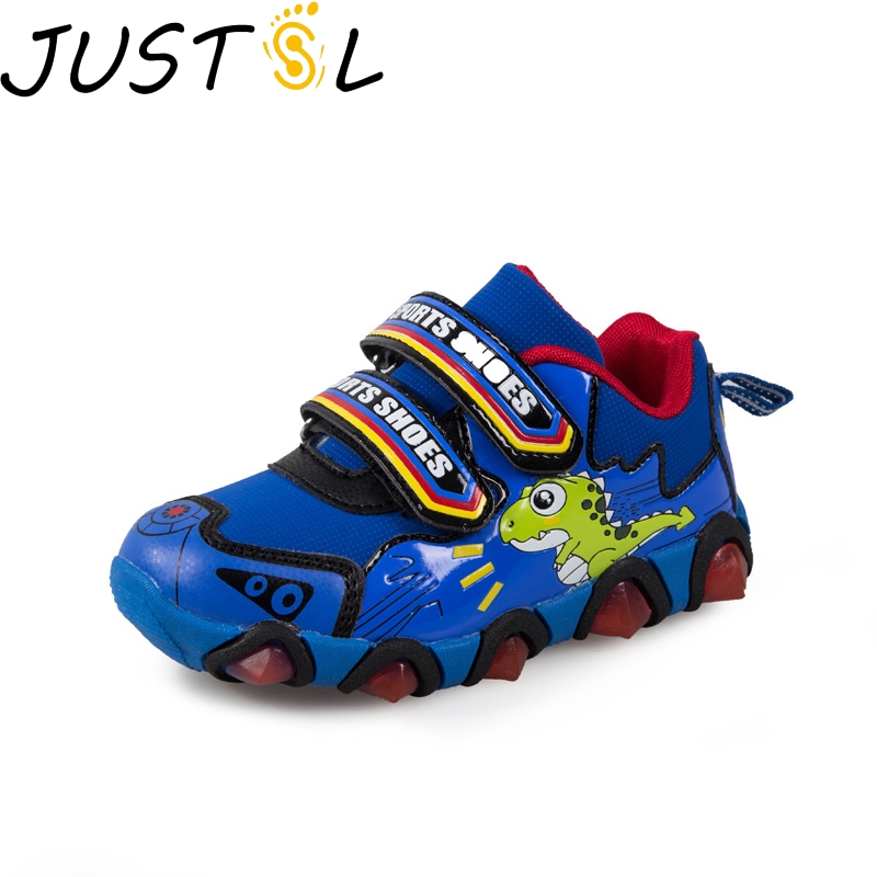 Spring New Children's Lights Cartoon Dinosaur Sport Shoes Flashing LED Fashion Sneakers Boys Girls Casual Shoes Size 26-31