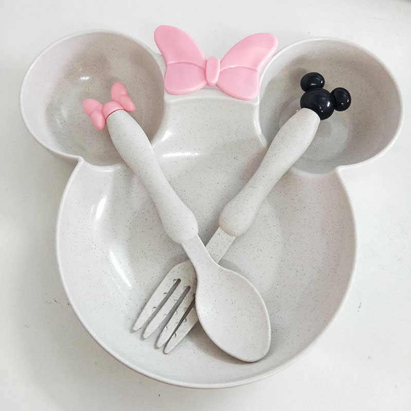 Пшеничная солома Чаша Дети Детская посуда с рисунком Комплект детский обеденный пластина ребенок обучение чаша ложки вилки для детей без коробки