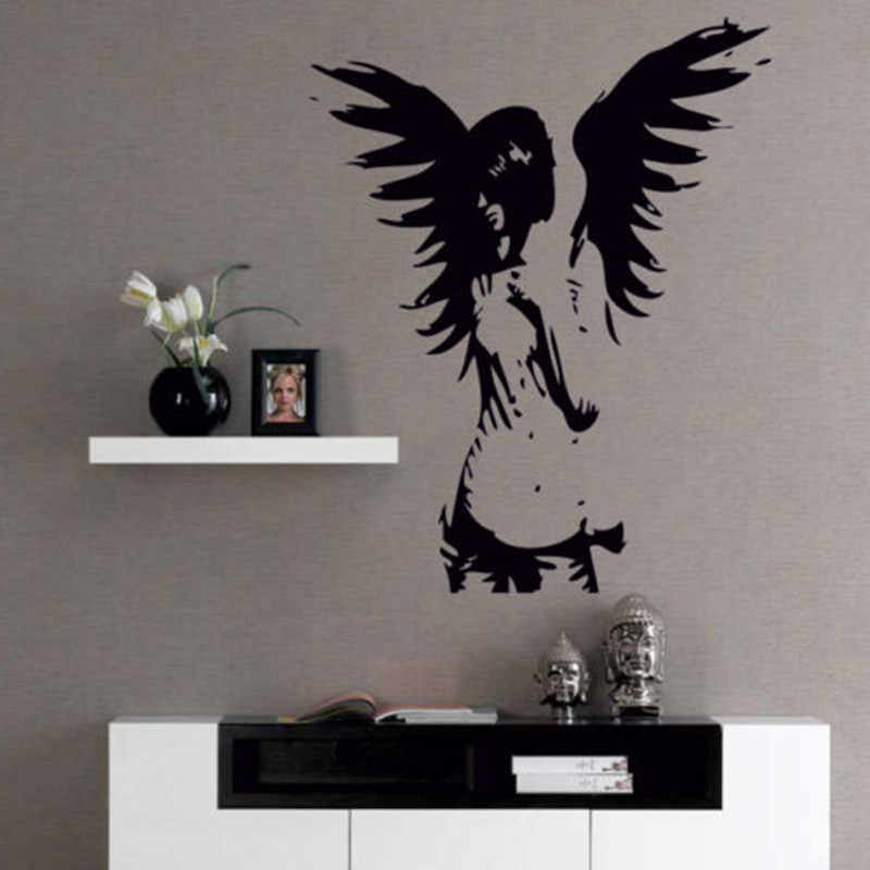 ZN D0044  ANGEL wall sticker giant banksy guardian bedroom decalÃfairy vinyl stickers