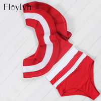 Floylyn Ruffle Bikini Set Women 2017 Striped One Shoulder Swimsuit Sexy High Waist Mesh Swimsuit Bathing