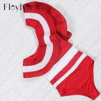 Floylyn Ruffle Bikini Set Women 2017 Striped One Shoulder Swimsuit Sexy High Waist Mesh Swimsuit Bathing
